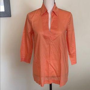Theory 3/4 Sleeve Orange Blouse Size S